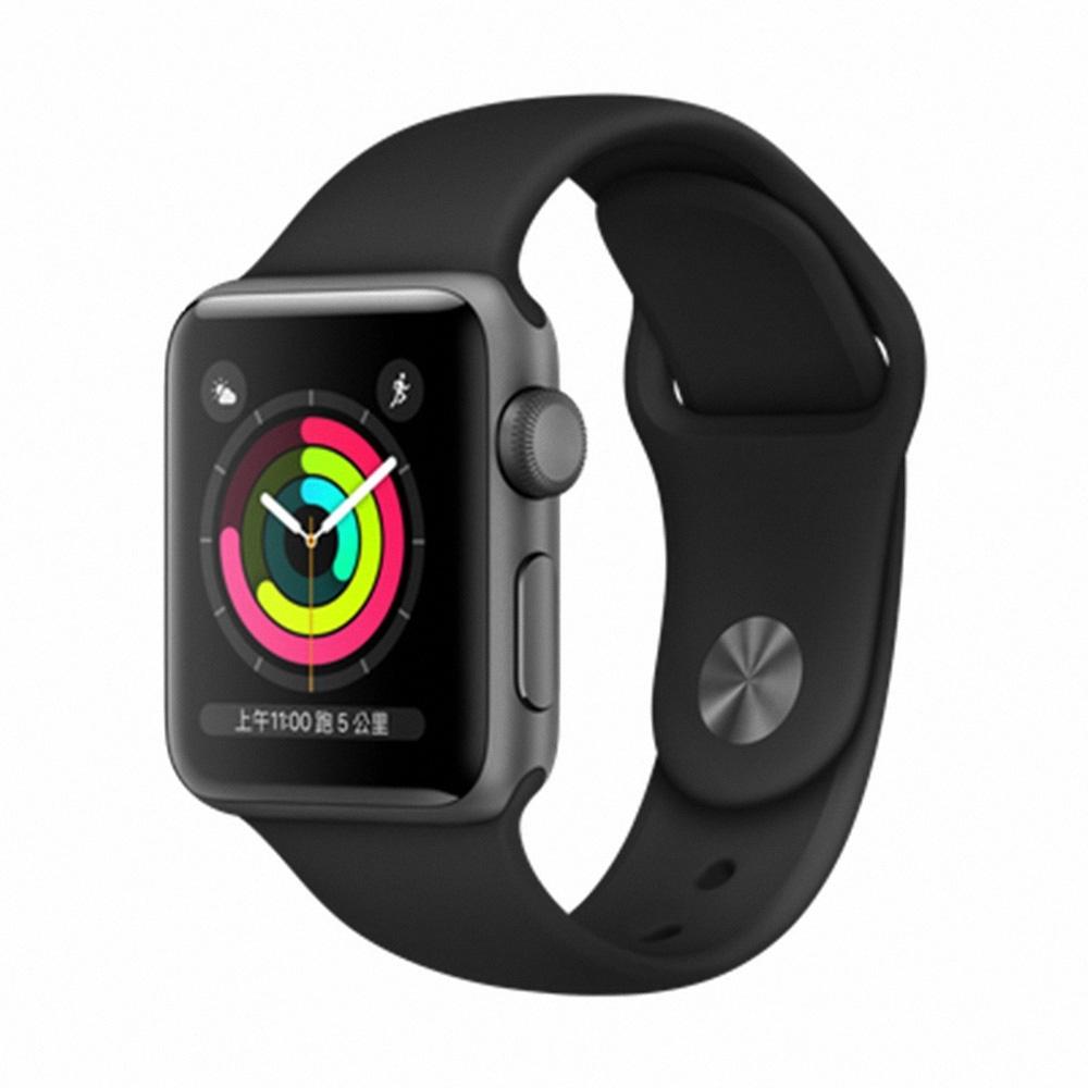 Apple Watch Series 3(GPS)38mm太空灰錶殼搭配黑色運動錶帶