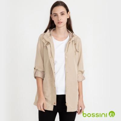 bossini女裝-連帽風衣外套卡其
