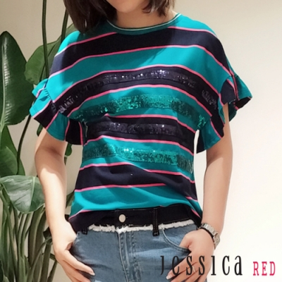 JESSICA RED - 時尚條紋亮片荷葉邊T恤
