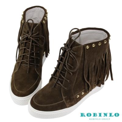 Robinlo 波希米亞真皮流蘇內增高短靴 棕色