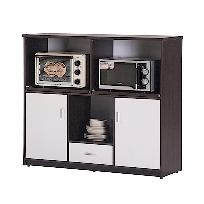 文創集 蘿倫環保4.2尺塑鋼二門單抽餐櫃(五色)-127x41x112cm-免組