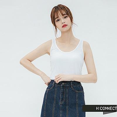 H:CONNECT 韓國品牌 女裝-純色圓領背心-白