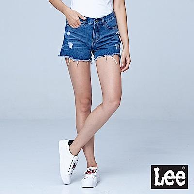Lee 水洗貓鬚刷白牛仔短褲-水洗藍-女短褲-LL18