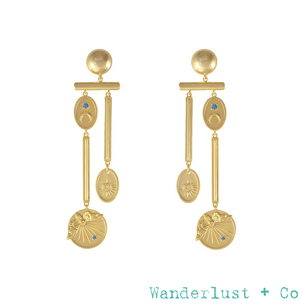 Wanderlust+Co REVERIE系列 魅力宇宙鍍18K金耳環