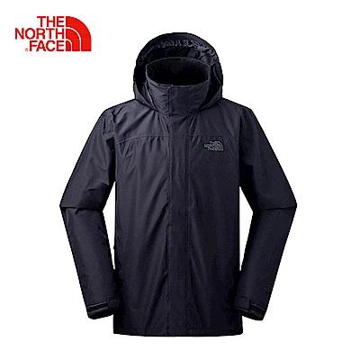 The North Face北面男款黑色防水透氣防風外套