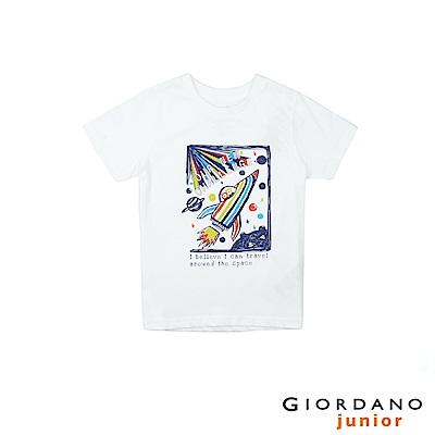 GIORDANO 童裝探索玩樂印花短袖T恤-81 標誌白