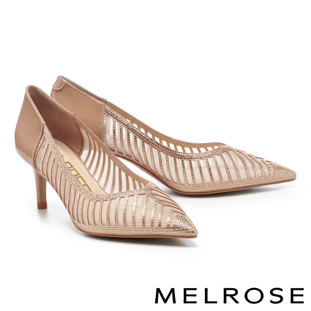 高跟鞋 MELROSE 高雅裸膚晶鑽異材質拼接尖頭高跟鞋-粉