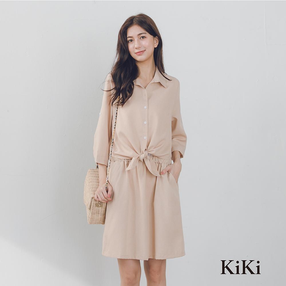 【KiKi】上班族系列綁結-洋裝(共二色)