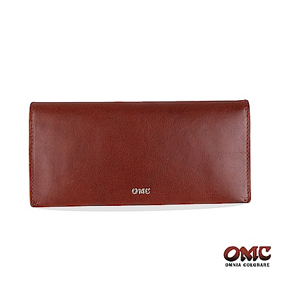 OMC 進口牛皮-自然紋對折12卡雙透明窗零錢長夾-咖啡色