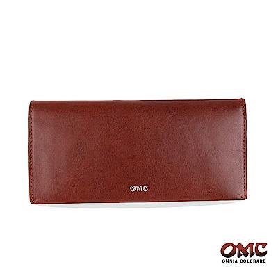 OMC 進口牛皮-自然紋對折12卡透明窗零錢長夾-咖啡色
