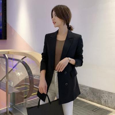 韓版寬鬆百搭雙排釦小西裝外套S-2XL(共三色)-Dorri