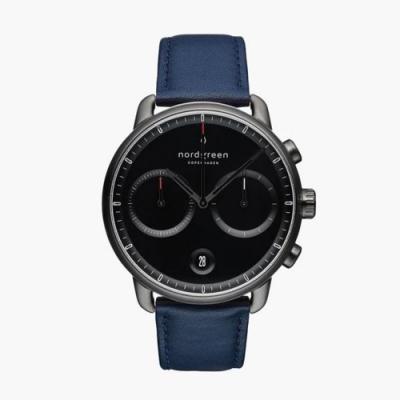 Nordgreen Pioneer   極夜黑錶盤 - 北歐藍純素皮革錶帶42MM(PI42GMVENABL)