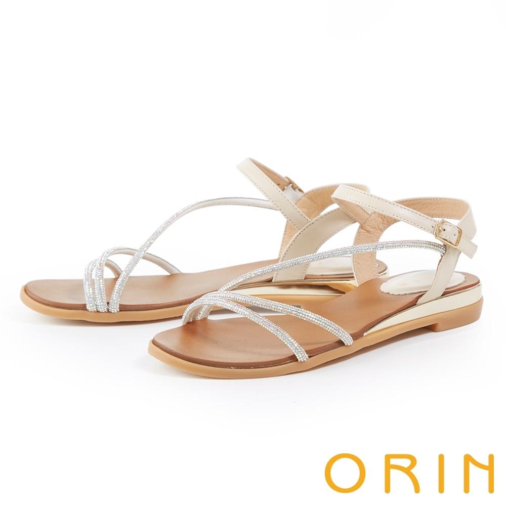 ORIN 水鑽斜邊飾條牛皮平底 女 涼鞋 銀色
