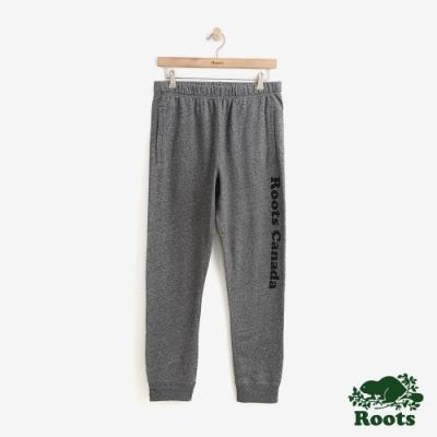 男裝Roots 字標毛圈布棉質長褲-灰色
