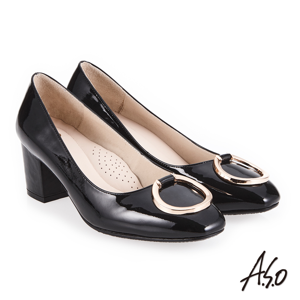 A.S.O 義式簡約 立體釦飾鏡面真皮高跟鞋 黑