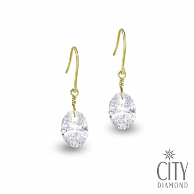 City Diamond引雅 【東京Yuki系列】10K橢圓水鑽黃K耳環