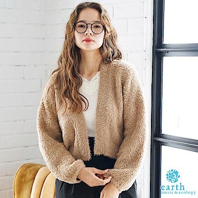 earth music 毛毛短版蓬袖針織開襟罩衫