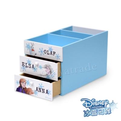 迪士尼Disney 冰雪奇緣 艾莎&安娜 雙抽屜筆筒 分隔盒 桌上收納