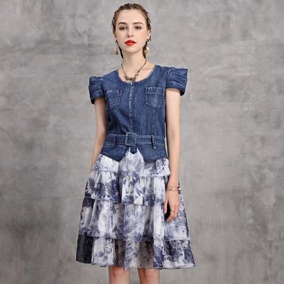 米蘭精品 連身裙牛仔洋裝-短袖拼接雪紡假兩件女裙子74ad50