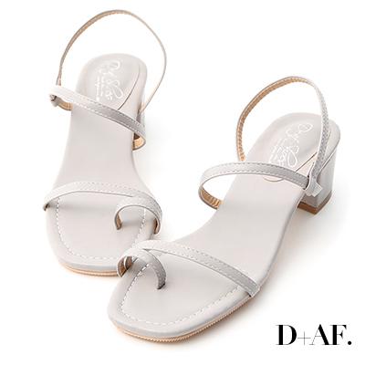D+AF 涼夏魅力.一字套指細帶低跟涼鞋*灰