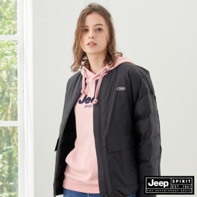 Jeep 女裝 極保暖防寒輕羽絨外套-黑色
