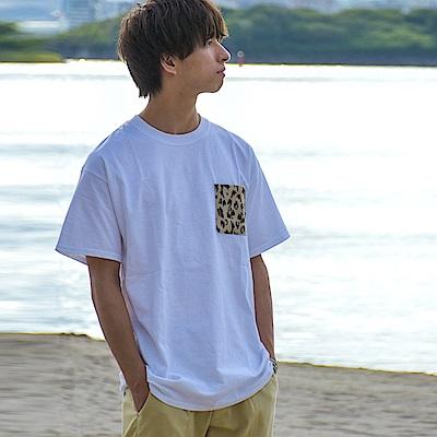 圓領短袖T恤素色拼接口袋(10色) ZIP日本男裝