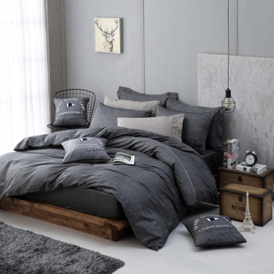 OLIVIA  LUCAS 灰黑  特大雙人床包美式枕套三件組 200織精梳純棉