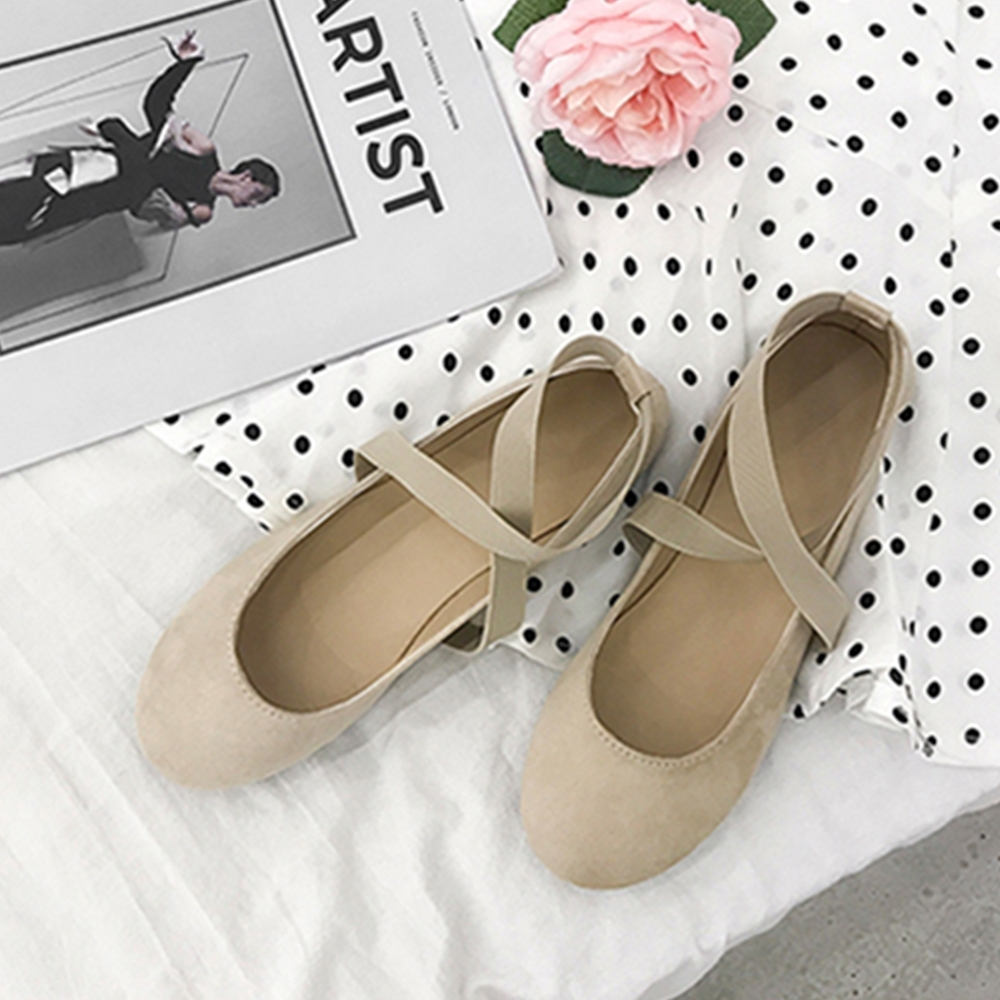 KEITH-WILL時尚鞋館 歐洲款氣質圓頭平底鞋 卡其