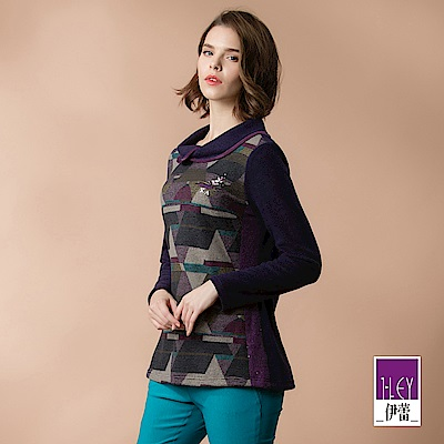 ILEY伊蕾 層次翻領配色幾何長版上衣(紫)