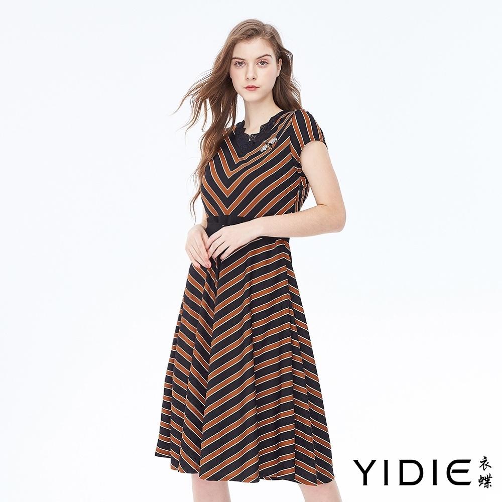 YIDIE衣蝶 小包袖斜條紋連身洋裝