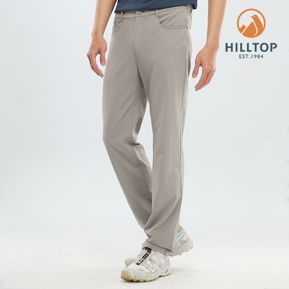 【hilltop山頂鳥】男款吸濕快乾彈性抗UV長褲S07MD1雲灰