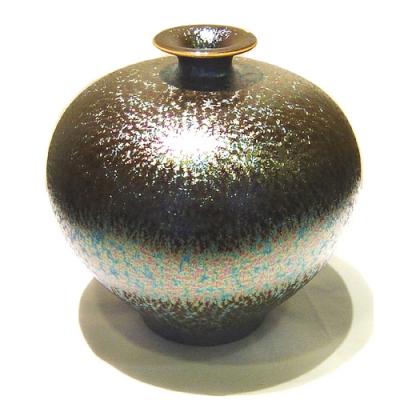 郭明本大師原作 錳七彩結晶釉瓷器(小圓球瓶)