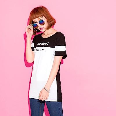 黑白配色字母設計圓領短袖上衣.女3色-OB大尺碼