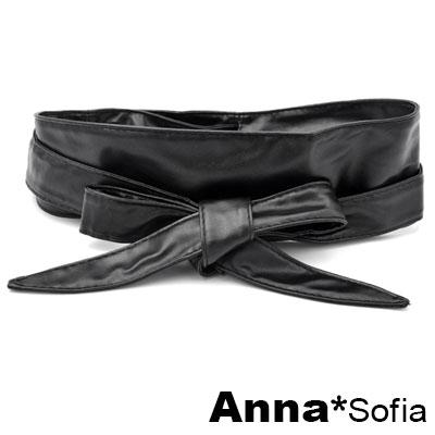 AnnaSofia 軟式穿繞綁帶式 寬腰帶馬甲腰封(酷黑系)