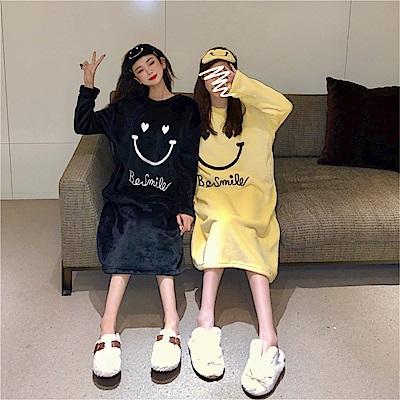 DABI 韓國風愛心笑臉法蘭絨睡裙寬鬆睡衣長袖洋裝