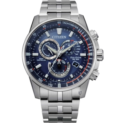 CITIZEN 星辰 GENTS系列 光動能電波時尚腕錶 CB5880-54L/43mm