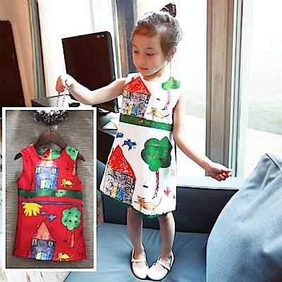 小衣衫童裝  童趣手繪塗鴉畫背心小洋裝1050402