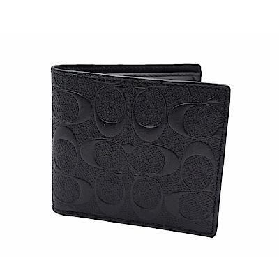 COACH 經典浮雕壓紋皮革 附零錢夾 男用短夾(黑色)
