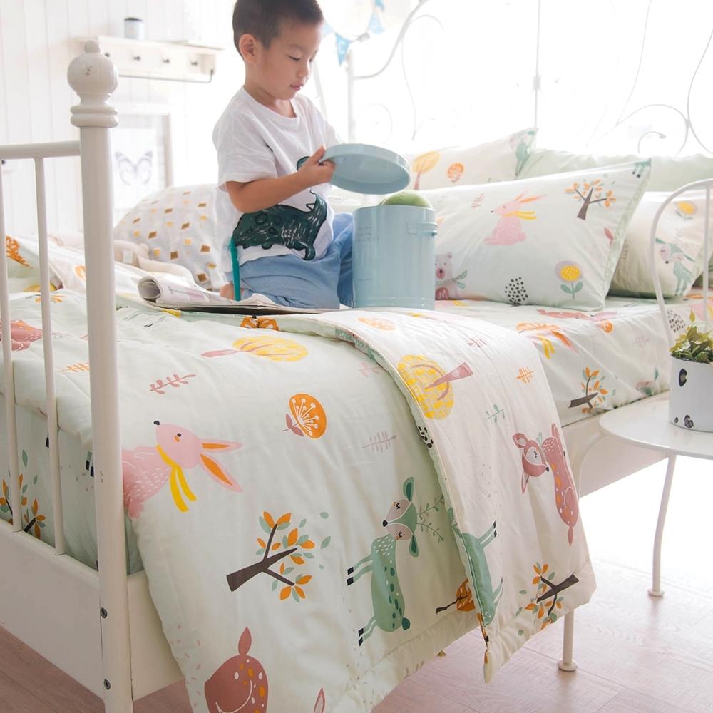OLIVIA  小森林 綠 加大雙人床包夏日涼被四件組 300織精梳純棉 台灣製