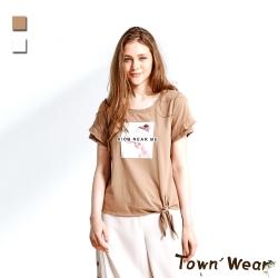 【TOWNWEAR棠葳】美式印花綁帶純棉上衣 2色