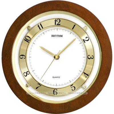 RHYTHM日本麗聲 典雅設計造型數字圈實木超靜音掛鐘/24cm