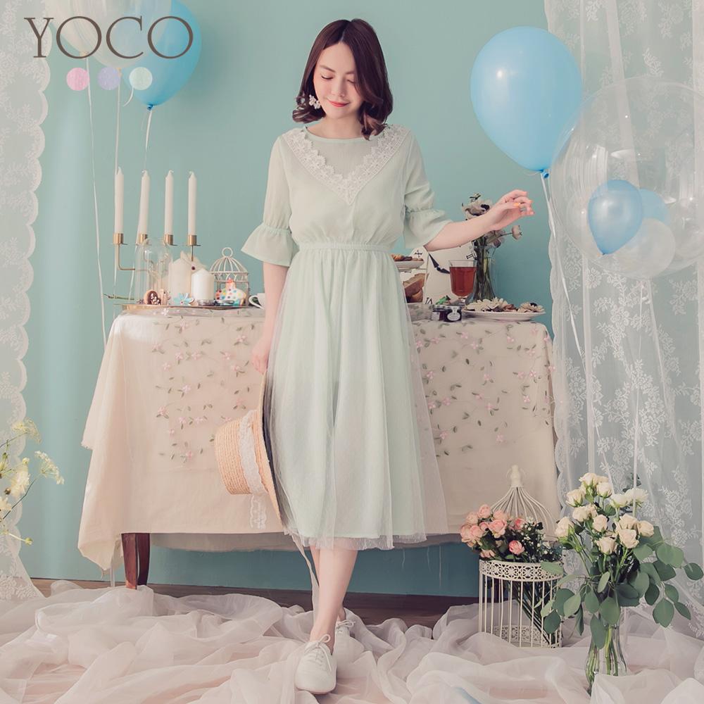 東京著衣-YOCO 馬卡龍花蕾絲拼接點點網紗洋裝-XS.S(共三色)