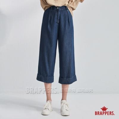 BRAPPERS 女款 Boy friend系列-天絲棉打摺寬褲-深藍