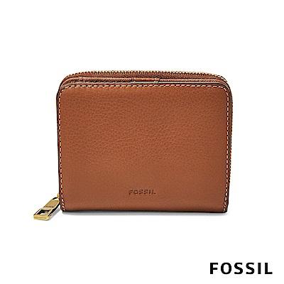 FOSSIL EMMA 對折真皮小夾拉鍊-咖啡色