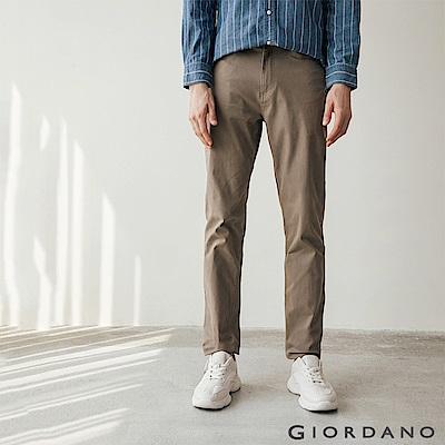 GIORDANO 男裝彈力棉質基本款錐形長褲-11 棕褐