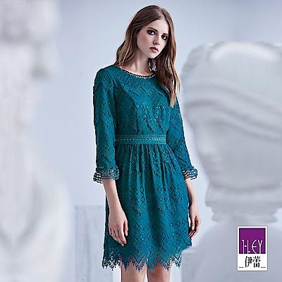 ILEY伊蕾 鑽飾圓領層次花紋蕾絲洋裝(藍)