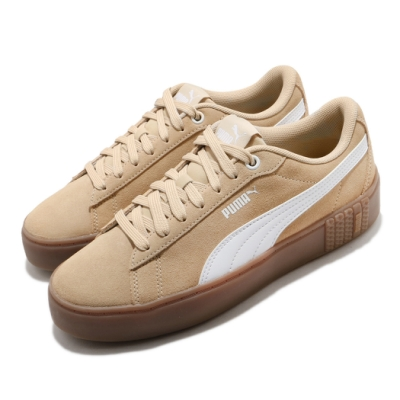 Puma 休閒鞋 Smash Platform V2 女鞋 基本款 簡約 麂皮 舒適 穿搭 膠底 棕 白 37303703