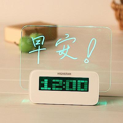 iSFun 螢光留言板 發光溫度日期鬧鐘 綠光