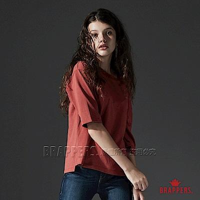 BRAPPERS 女款 不對稱露肩七分袖造型上衣-番茄紅