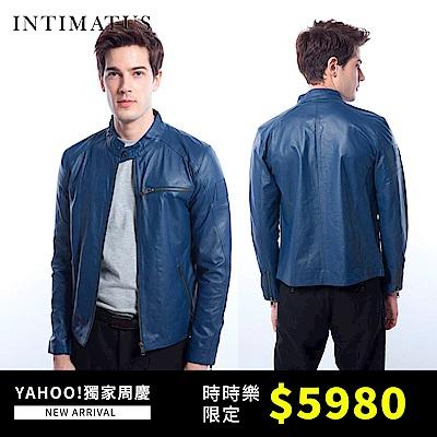 [時時樂] INTIMATUS 騎士立領基本款小羊皮皮衣(質感藍)